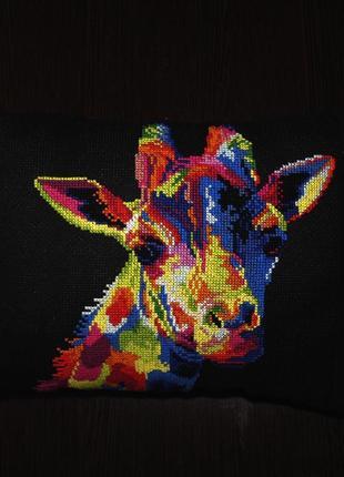 Подушка ′радужные животные - жираф′ ручная вышивка