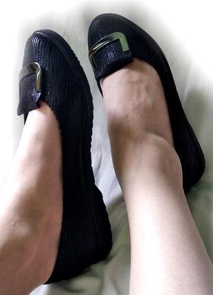 Туфли лодочки балетки черные 23cм