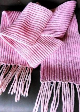 Длинный xxl вязаный шарф с бахромой меланжевой расцветки