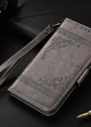Винтажный кожаный чехол-бумажник (книжка) для смартфона: prestigio muze d3, muze e3.