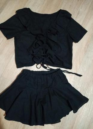 Летний костюм топ и юбка-шорты zara
