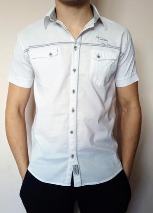 Сорочка redpolo/ рубашка на короткий рукав/ белая/ стрейч