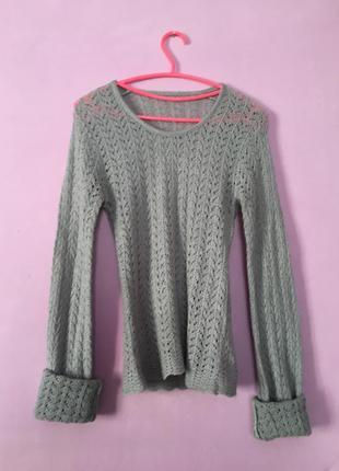 Кофта свитер вязаная ажурная серая тёплая