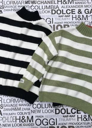 Женский свитер в широкую полоску8 фото