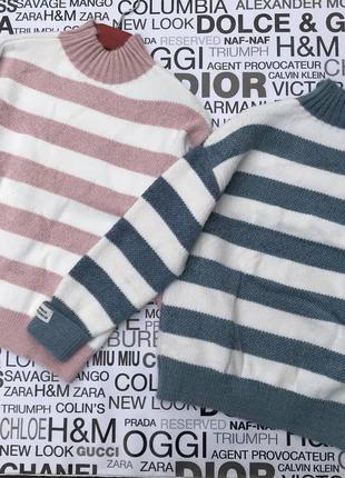 Женский свитер в широкую полоску7 фото