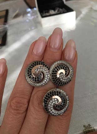 Мега красивый серебряный набор с золотыми пластинками