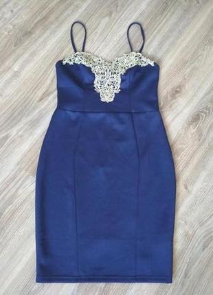 Lipsy нарядное платье темно синее