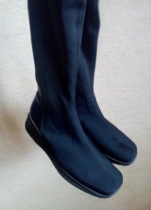 Сапоги-чулки на танкетке черного цвета, кожа, размер 7,5
