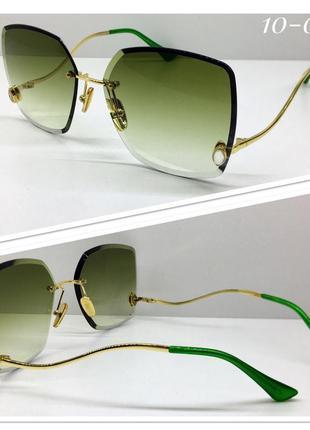 Женские солнцезащитные очки оверсайз квадраты зелёные линзы градиент
