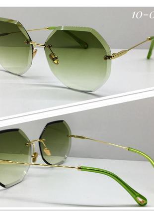 Женские солнцезащитные очки льдинки зелёные градиент