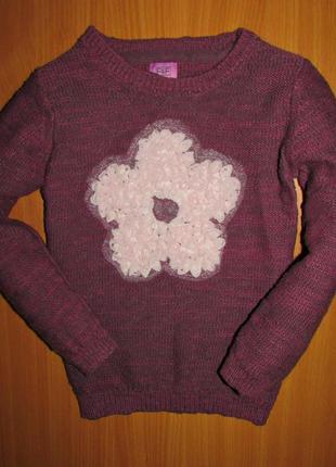 Красивый свитер на девочку цветок f&f кружевной цветок кофта на девочку