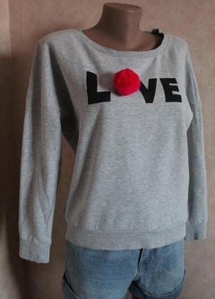 Тепленькая кофта свитер свитшот с надписью серого цвета