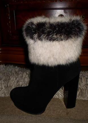 Роскошные зимние мягкие сапожки ботинки nivelle,замша,мех лиса