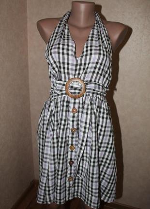 Asos сарафан, платье в клеточку ,трендовый с деревянными пуговицами,пряжкой