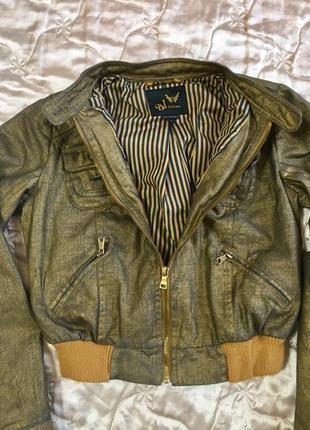 Золотистая джинсовая куртка бомбер обмен