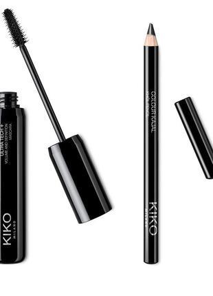 Kiko milano набір розділяюча туш ultra tech + volume and definition + олівець colour kajal