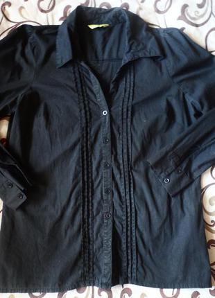 Классическая деловая чёрная рубашка от нм