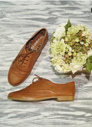 🌿38🌿европа🇪🇺 new look. кожа. стильные оксфорды, комфортные туфли на шнуровке