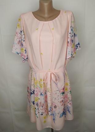 Платье шикарное шифоновое нежно розовое большой размера uk 18/46/xxl