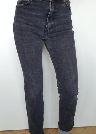 Винтажные серые джинсы mom slim мом мам высокая талия посадка винтаж monki
