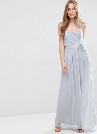 Нежное шифоновое платье бюстье макси в пол, вечернее с открытыми плечами