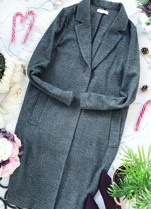 Мягкое серое пальто,длины миди h&m длина 106 см