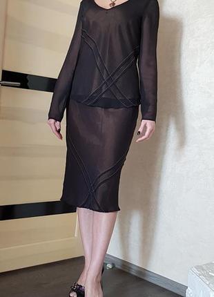 Шикарный шелковый комплект костюм (юбка и блуза)100% шелк laura ashley