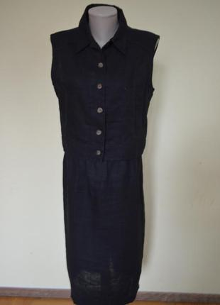 Красивый стильный костюм лен 100% черный cher