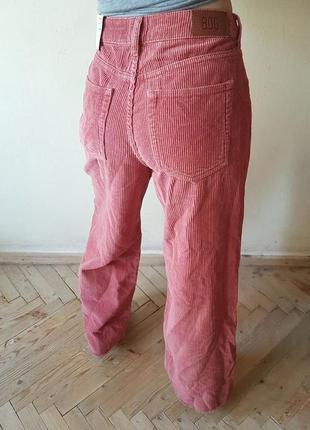 Вельветовые штаны джинсы mom кюлоты высокая талия посадка пудрового цвета