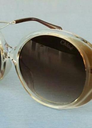 Chloe очки женские солнцезащитные большие коричневые круглые