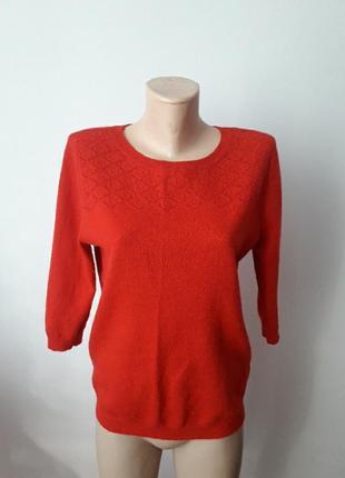 Джемпер кофта ажурная ангорка красная футболка теплая