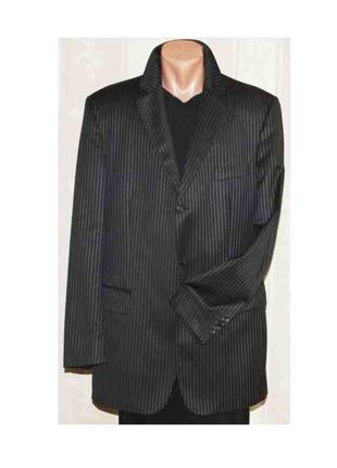 Пиджак жакет шерсть чёрный в синюю полоску burberry, оригинал 52р