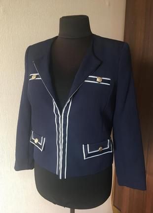 Мега стильный лаконичный базовый пиджак,джемпер темно синий р 42