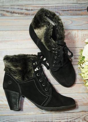 🌿39🌿европа🇪🇺 tamaris. замша. фирменные ботинки, полусапожки на удобном каблуке
