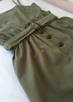 Котоновый зеленый сарафан платье