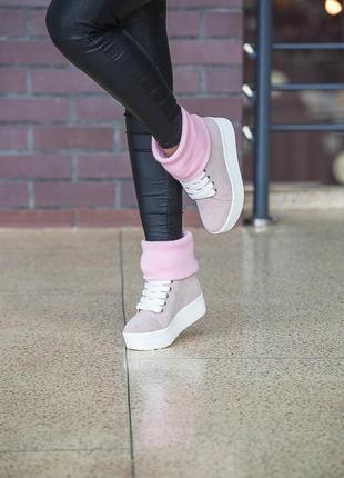 Женские ботинки кеды с довязом деми или зима