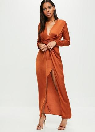 Роскошное платье в пол с разрезом и декоративным узлом missguided ms202