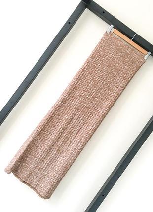 Итальянская меланжевая юбка в рубчик макси юбка