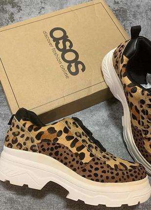 Кроссовки из кожи на массивной подошве с леопардовым принтом asos