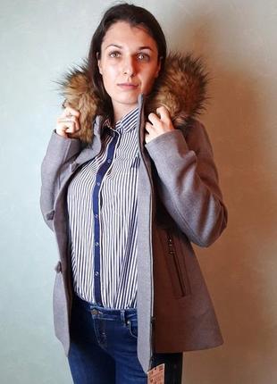 Куртка серая с капюшоном eco мехом