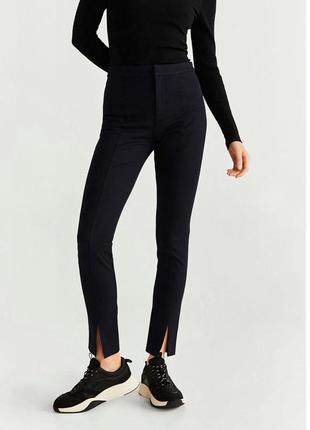 Крутые чёрные штаны брюки с разрезами, 38