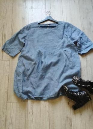 Голубое льняное платье италия