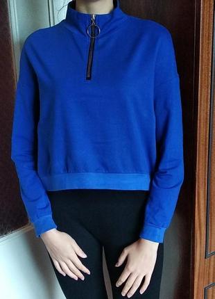 Свитшот худи укороченный лонгслив реглан синий с замком с замочком кольцо