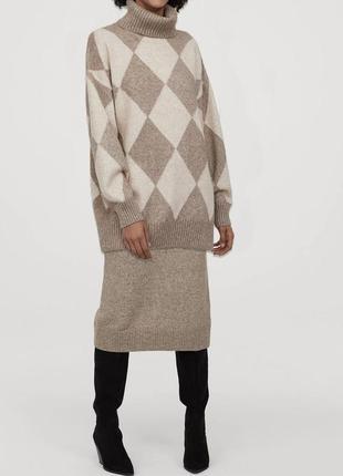 Вязанный костюм с шерстью юбка свитер h&m