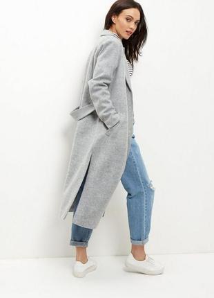 Прямое серое пальто на 2 кнопки с карманами new look