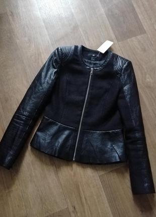 H&m кожаная куртка, курточка, косуха, пиджак, ромпер, бомбер