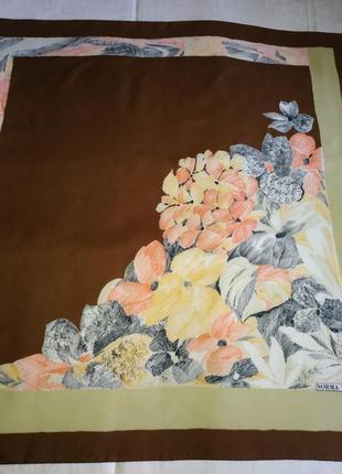"""Стильный винтажный дизайнерский платок norma dori """"букет"""", италия, 76х78 см."""