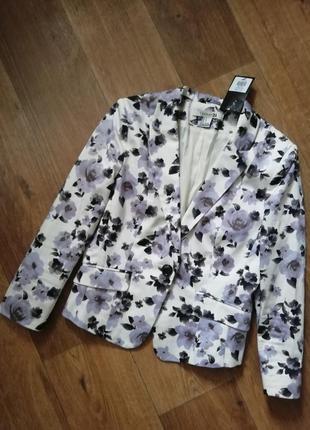 Пиджак цветочный принят, жакет, ветровка