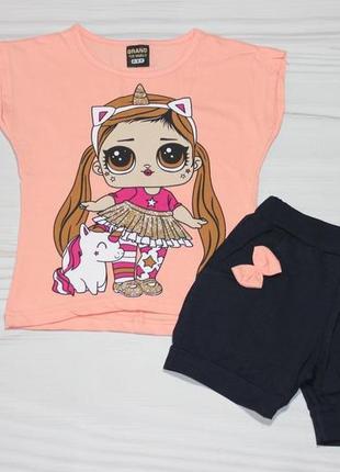 🍀 летний хлопковый комплект c куколкой лол lol (футболка и шорты), турция 🍀