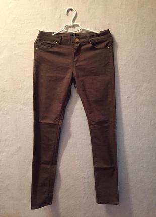 Коричневые скинни джинсы h&m